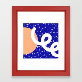 Peach + Blue Abstract Pattern Framed Art Print