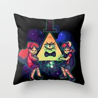 gravity falls Throw Pillows featuring Gravity Falls by Erika Draw