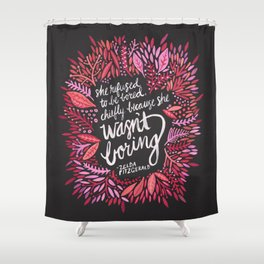 Zelda Fitzgerald – Pink on Charcoal Shower Curtain