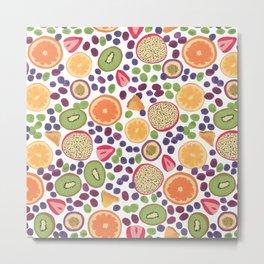 Gouache Fruit Pattern Metal Print