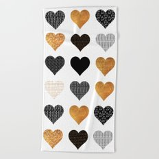 Gold, black, white hearts Beach Towel