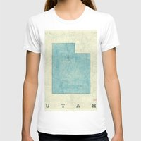 utah T-shirts featuring Utah State Map Blue Vintage by City Art Posters
