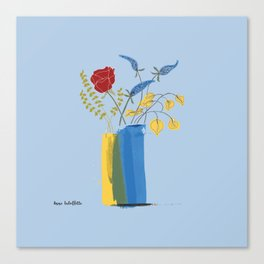 Floral Bouquet in Blue and Yellow Vases Canvas Print