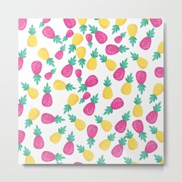 Pink yellow hand painted tropical pineapple pattern Metal Print