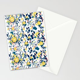 Buttercup yellow, salmon pink, and navy blue flowers on white background pattern Stationery Cards