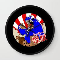 kaiju Wall Clocks featuring Kookie Kaiju by Joel Jackson