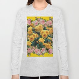 PINK & YELLOW SPRING ROSES GARDEN VIGNETTE Long Sleeve T-shirt