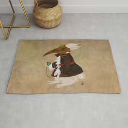'Postapocalyptic' style White Rabbit (Alice in Wonderland) Rug