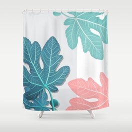 Colored Fig Tree Leaves Shower Curtain