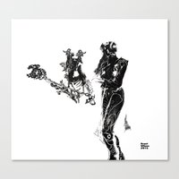 outlander Canvas Prints featuring Outlander Warrior and Maiden Sketch..stark version [Digital Figure Illustration] by Grant Wilson