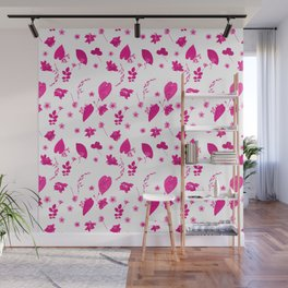 Pink Floral Pressed Flower and Leaf Pattern Wall Mural