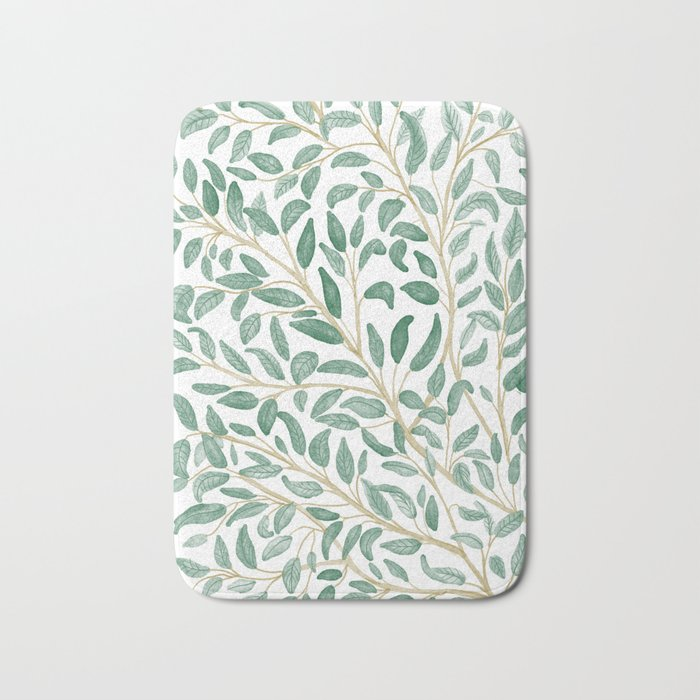 Green Leaf Pattern Bath Mat