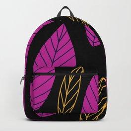 Pink and gold trendy leaf pattern on black Backpack