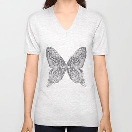 FLOWERS, FEATHERS & FLUTTERS Unisex V-Neck