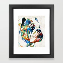Bulldog Pop Art - How Bout A Kiss - By Sharon Cummings Framed Art Print