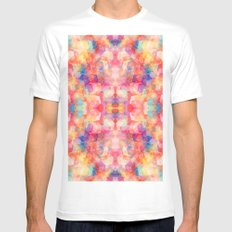 Abstract Reflection White Mens Fitted Tee MEDIUM