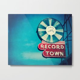 Record Town Neon Sign Metal Print