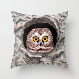 Saw Whet Owl Throw Pillow