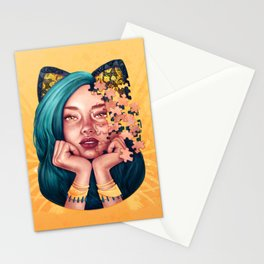 Puzzle Cat Girl Stationery Cards