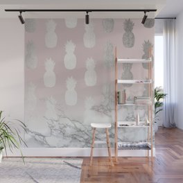 Golden Pineapple Madness on Marble Wall Mural