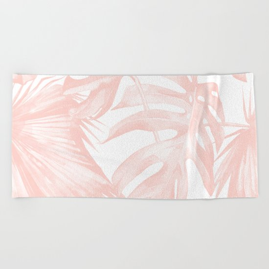 Tropical Leaves Pink and White Beach Towel