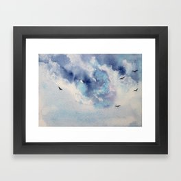 Dramatic sky || watercolor Framed Art Print