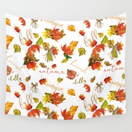 Autumn Leaves Hello Fall! Wall Tapestry
