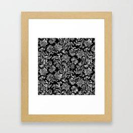 Black & Silver Vintage Floral Damasks Pattern Framed Art Print