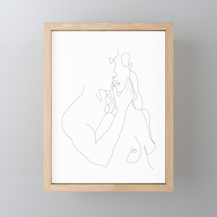 Couple - Minimal Line Drawing Framed Mini Art Print