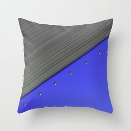 Colored plate with rivets and circular metal grille Throw Pillow