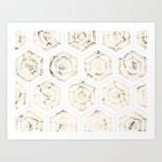Golden Minimal Marble (Marbling) Simple Hexagon Geometric Design Pattern (Sophisticated Clean Chic) Art Print