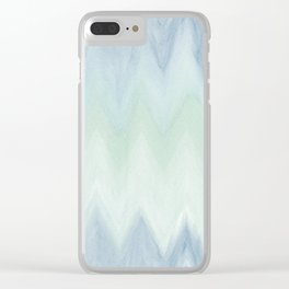 Modern geometrical pastel blue mint green watercolor ikat Clear iPhone Case