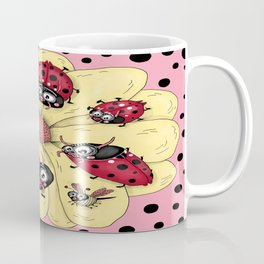 some quirky ladybugs and a couple of cute bees, pink coral yellow red black white Coffee Mug