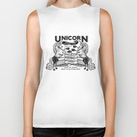 boxing Biker Tanks featuring Unicorn Boxing by Kellabell9