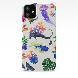 tropical shark pattern iPhone Case