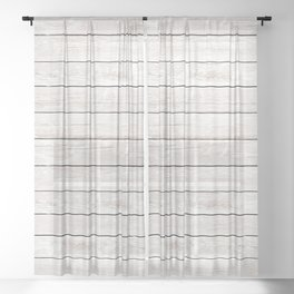 Rustic ivory white vintage wood Sheer Curtain