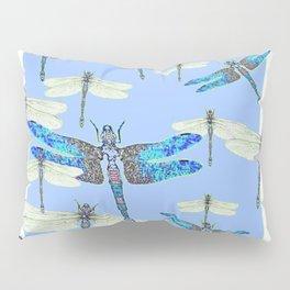 BLUE & GOSSAMER WHITE  DRAGONFLY SEASON ART Pillow Sham