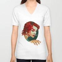 "smoking V-neck T-shirts featuring ""Smoking Princess"" by Giulio Rossi"