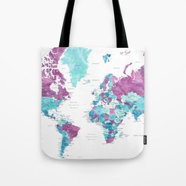 """Purple and turquoise watercolor world map with cities, """"Blair"""" Tote Bag"""