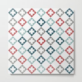Modern Farmhouse Quilt Pattern Vintage Inspired NorthStar and Diamond Harlequin Print Metal Print