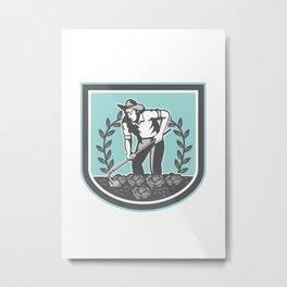 Organic Farmer Grabhoe Plant Shield Metal Print