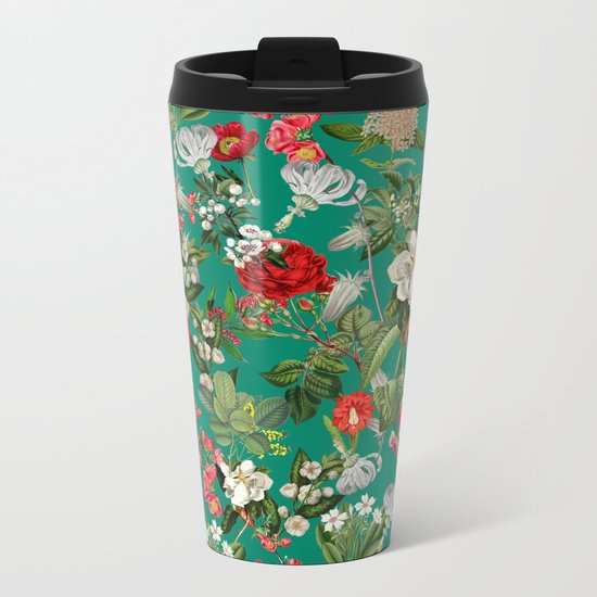 Saemless Botanical Pattern Metal Travel Mug
