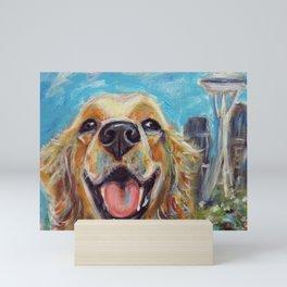 Golden Retriever in Seattle Mini Art Print