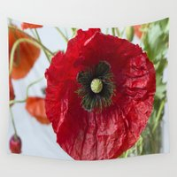 poppy Wall Tapestries featuring Poppy by Maria Heyens