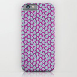 Green Monstera purple pink iPhone Case