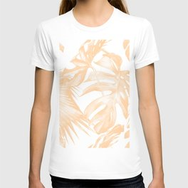 Island Vacation Hibiscus Palm Coral T-shirt