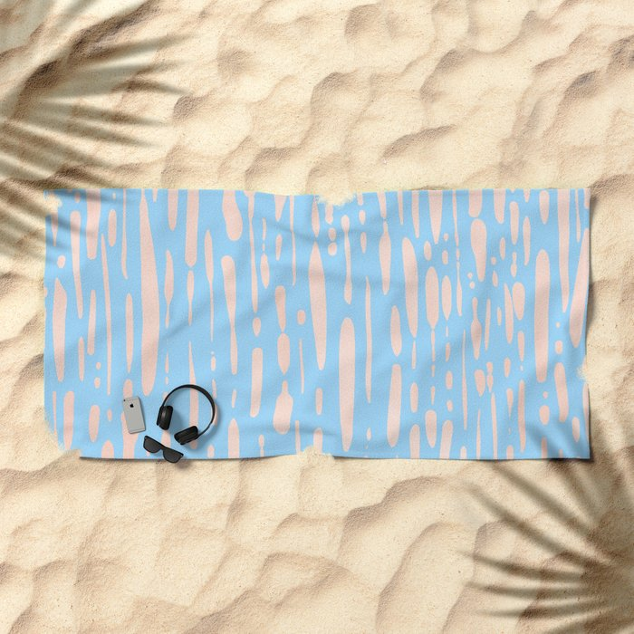 Sweet Life Ice Melt Stripes Peach Coral Pink + Blue Raspberry Beach Towel