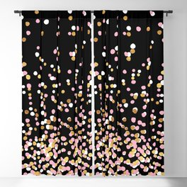 Floating Dots - White, Gold and Pink on Black Blackout Curtain