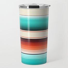Navajo White, Turquoise and Burnt Orange Southwest Serape Blanket Stripes Travel Mug
