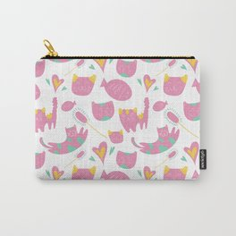 Cute mauve pink teal yellow cat fish animal pattern Carry-All Pouch